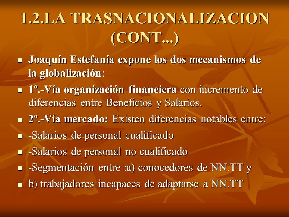 1.2.LA TRASNACIONALIZACION (CONT...) Joaquín Estefanía expone los dos mecanismos de la globalización: Joaquín Estefanía expone los dos mecanismos de l