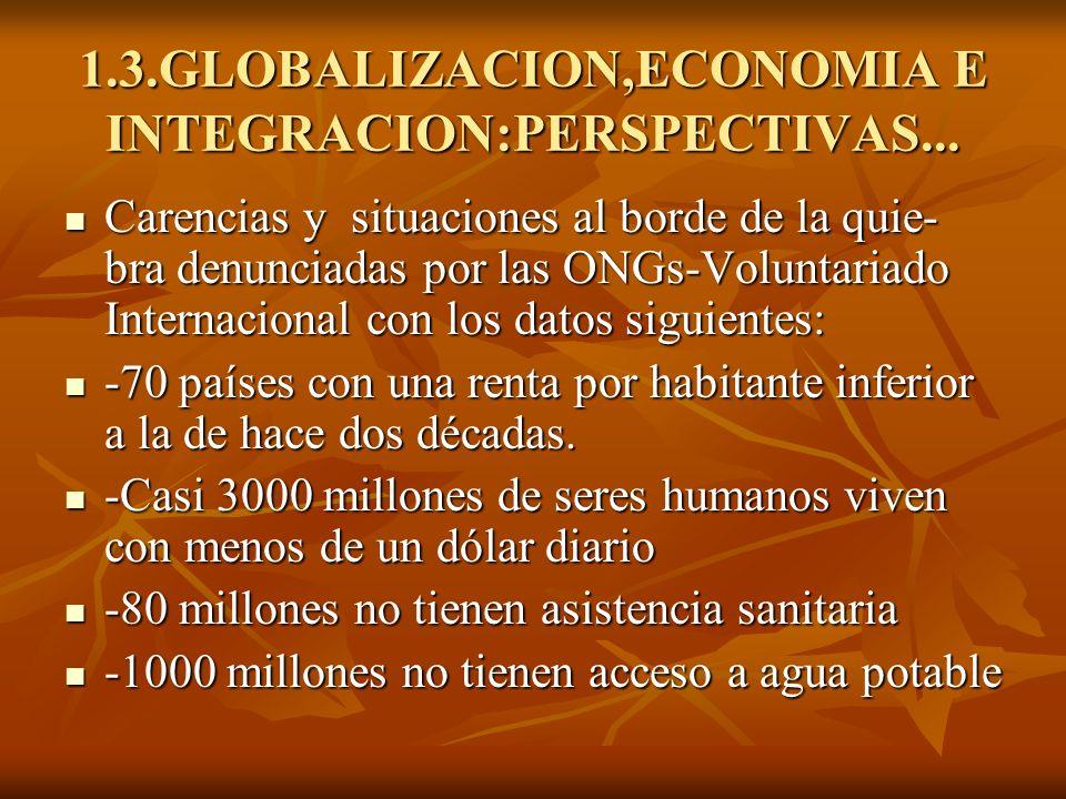 1.3.GLOBALIZACION,ECONOMIA E INTEGRACION:PERSPECTIVAS... Carencias y situaciones al borde de la quie- bra denunciadas por las ONGs-Voluntariado Intern