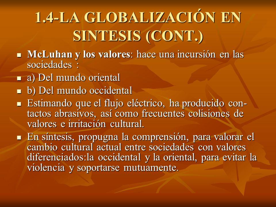 1.4-LA GLOBALIZACIÓN EN SINTESIS (CONT.) McLuhan y los valores: hace una incursión en las sociedades : McLuhan y los valores: hace una incursión en la