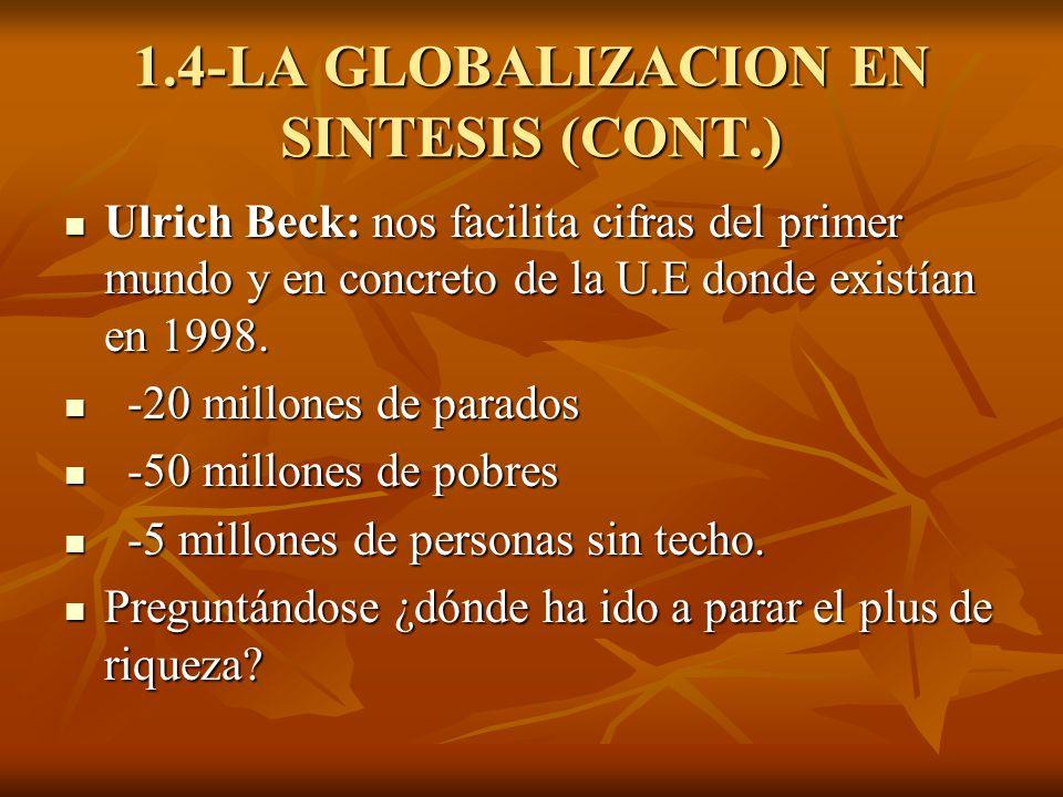 1.4-LA GLOBALIZACION EN SINTESIS (CONT.) Ulrich Beck: nos facilita cifras del primer mundo y en concreto de la U.E donde existían en 1998. Ulrich Beck