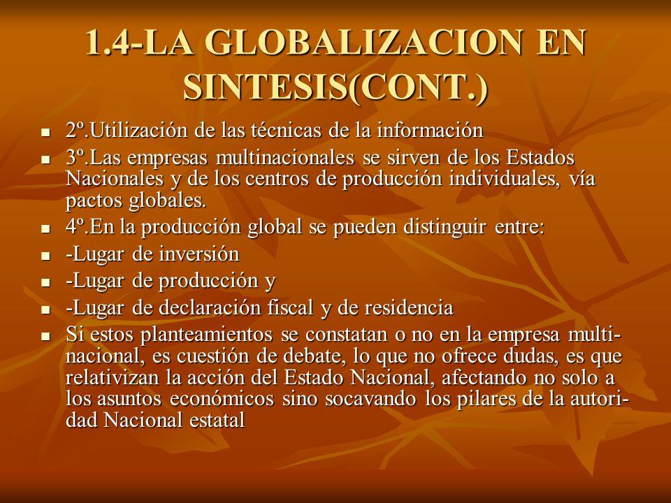 1.4-LA GLOBALIZACION EN SINTESIS(CONT.) 2º.Utilización de las técnicas de la información 2º.Utilización de las técnicas de la información 3º.Las empre