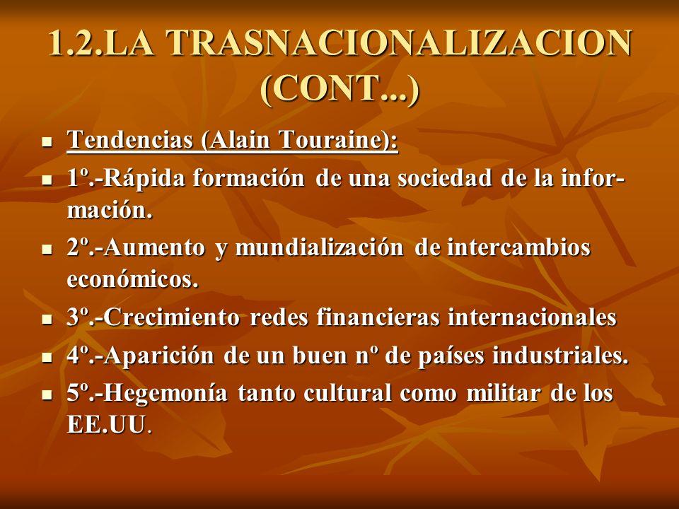 1.2.LA TRASNACIONALIZACION (CONT...) Tendencias (Alain Touraine): Tendencias (Alain Touraine): 1º.-Rápida formación de una sociedad de la infor- mació