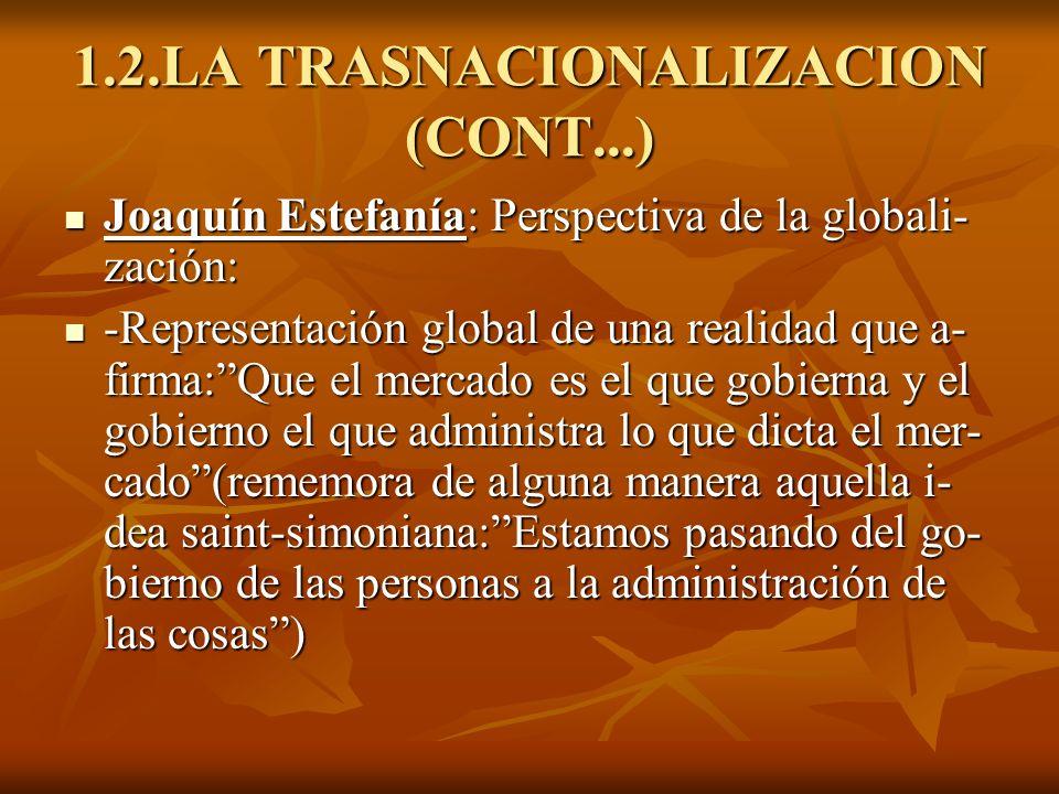 1.2.LA TRASNACIONALIZACION (CONT...) Joaquín Estefanía: Perspectiva de la globali- zación: Joaquín Estefanía: Perspectiva de la globali- zación: -Repr