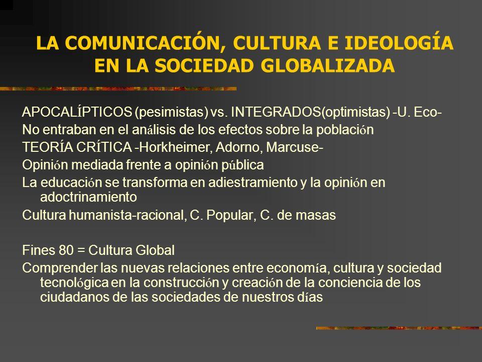LA COMUNICACIÓN, CULTURA E IDEOLOGÍA EN LA SOCIEDAD GLOBALIZADA APOCAL Í PTICOS (pesimistas) vs. INTEGRADOS(optimistas) -U. Eco- No entraban en el an