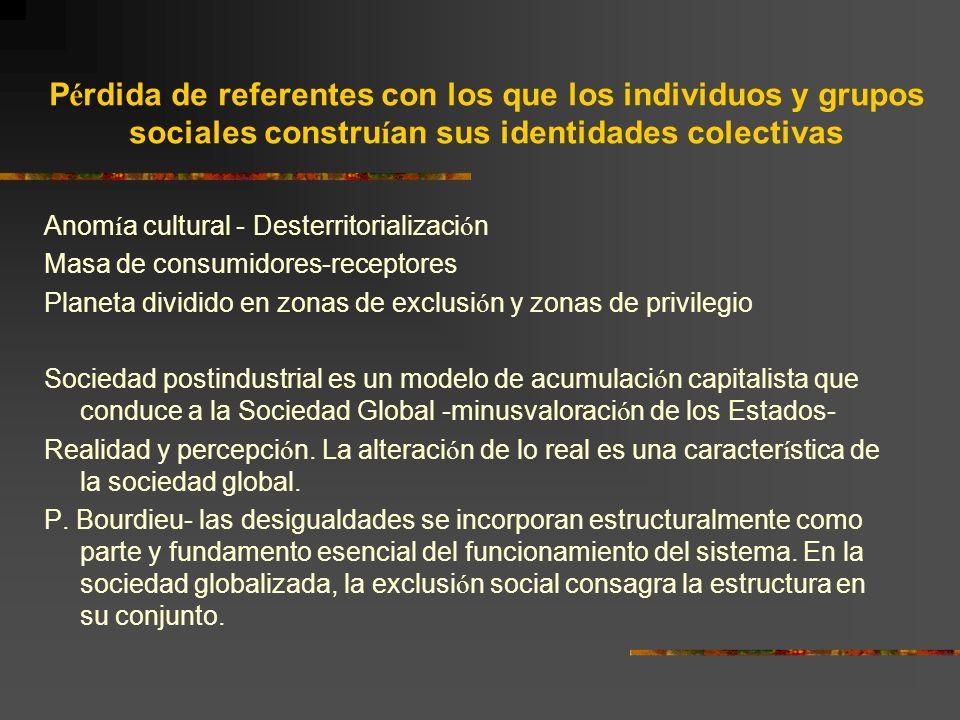 P é rdida de referentes con los que los individuos y grupos sociales constru í an sus identidades colectivas Anom í a cultural - Desterritorializaci ó