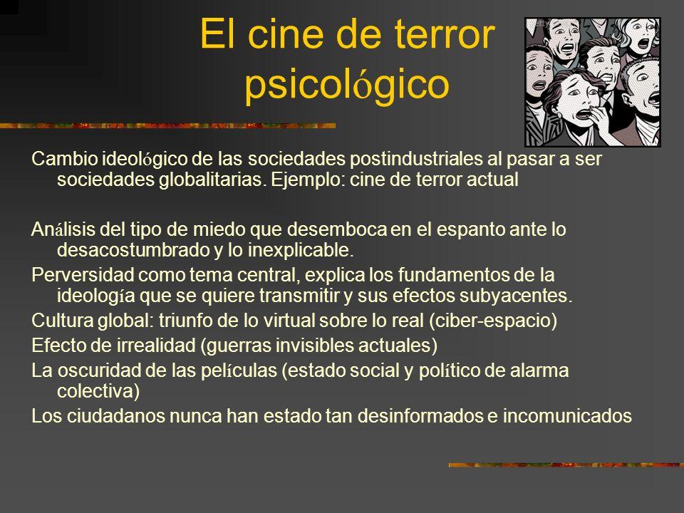 El cine de terror psicol ó gico Cambio ideol ó gico de las sociedades postindustriales al pasar a ser sociedades globalitarias. Ejemplo: cine de terro