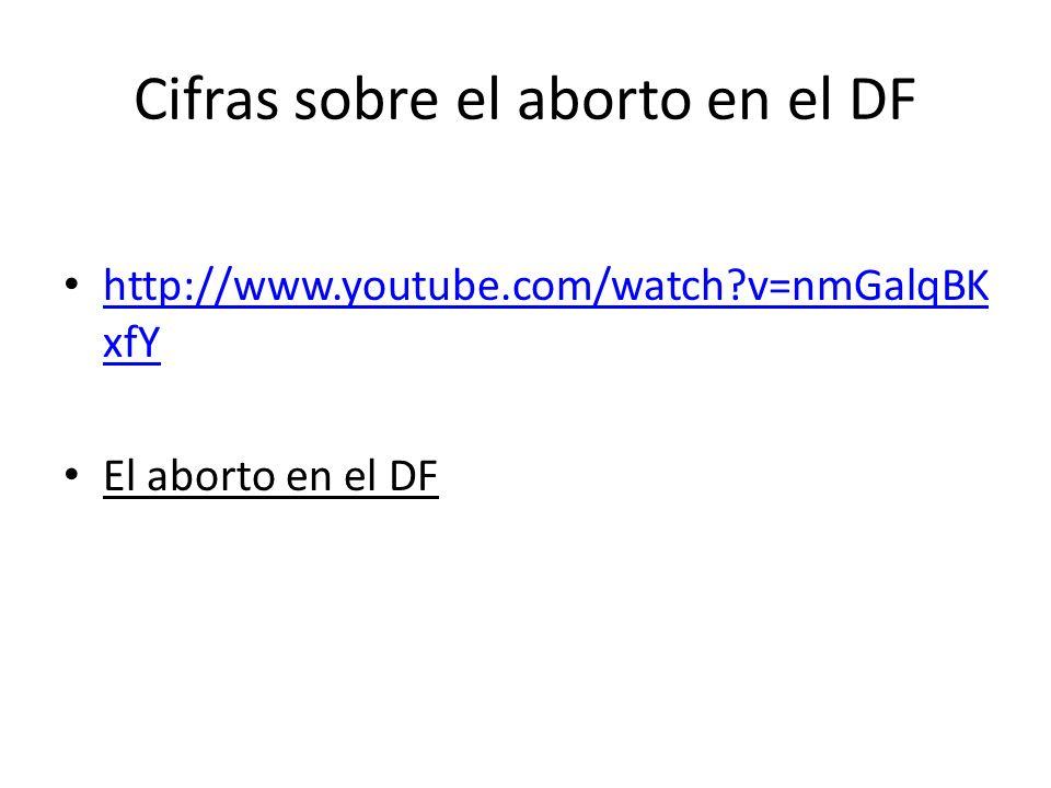 Cifras sobre el aborto en el DF http://www.youtube.com/watch?v=nmGalqBK xfY http://www.youtube.com/watch?v=nmGalqBK xfY El aborto en el DF