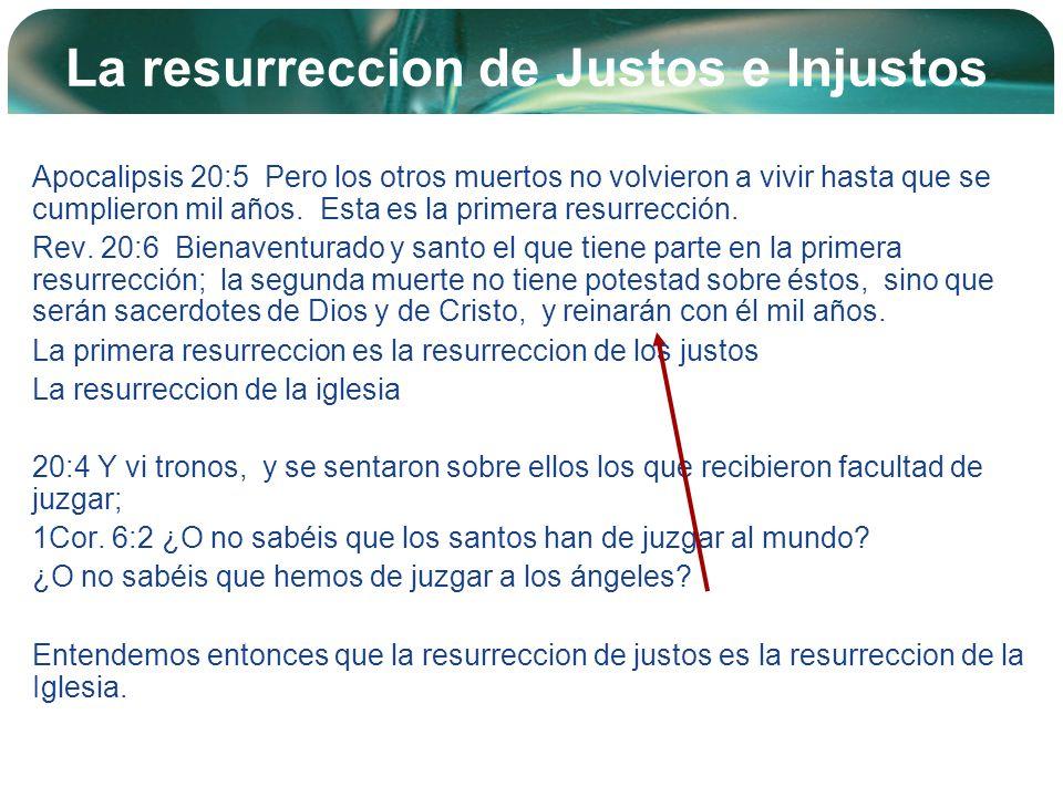 Company Logo La resurreccion de Justos e Injustos Apocalipsis 20:5 Pero los otros muertos no volvieron a vivir hasta que se cumplieron mil años. Esta