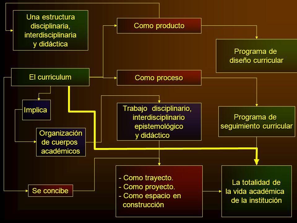 El curriculum Como producto Como proceso Programa de diseño curricular Programa de seguimiento curricular Implica Trabajo disciplinario, interdiscipli