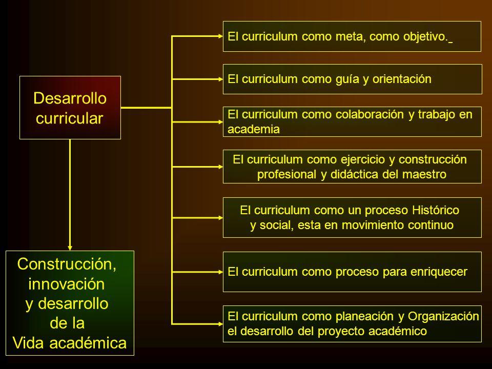 Desarrollo curricular El curriculum como guía y orientación El curriculum como meta, como objetivo. El curriculum como colaboración y trabajo en acade