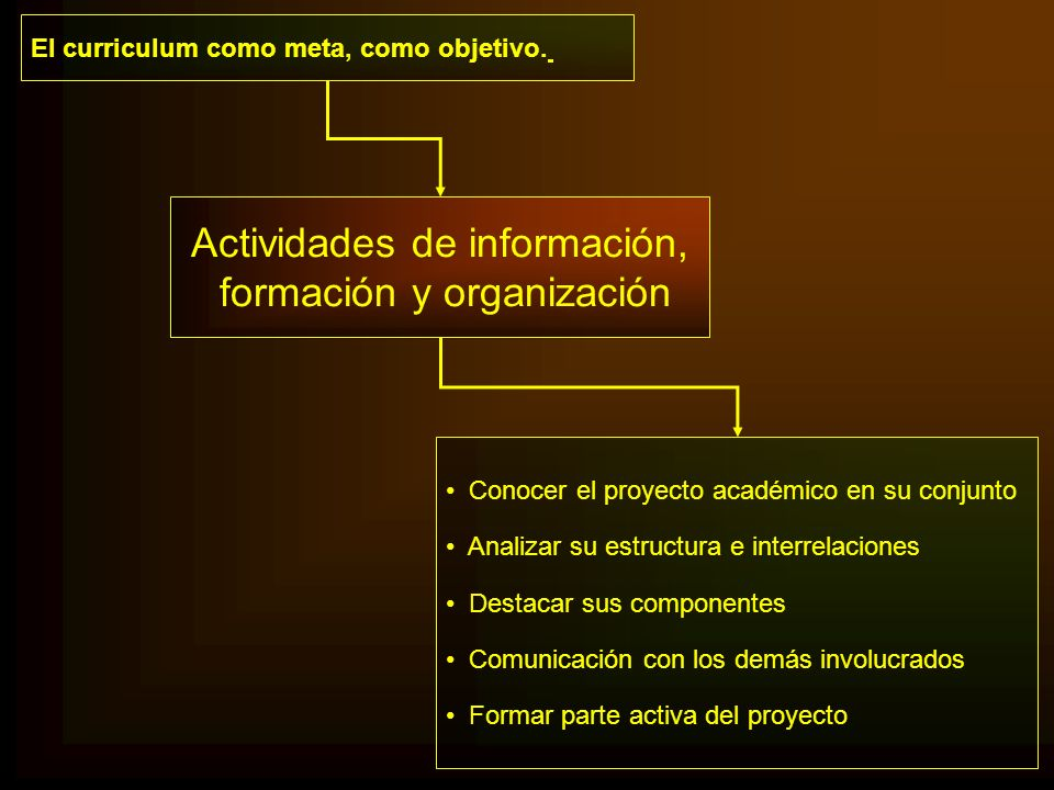 El curriculum como meta, como objetivo. Conocer el proyecto académico en su conjunto Analizar su estructura e interrelaciones Destacar sus componentes