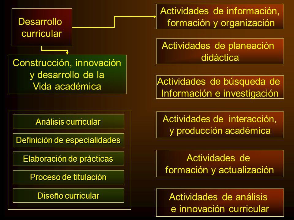 Diseño curricular Actividades de información, formación y organización Actividades de planeación didáctica Actividades de búsqueda de Información e in