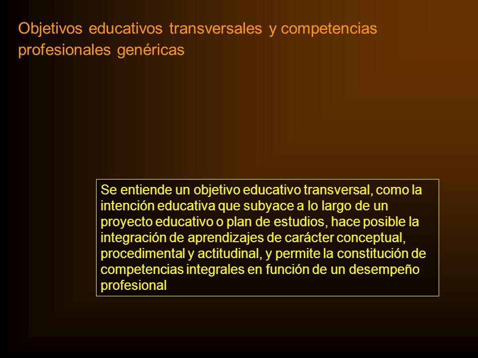 Objetivos educativos transversales y competencias profesionales genéricas Se entiende un objetivo educativo transversal, como la intención educativa q
