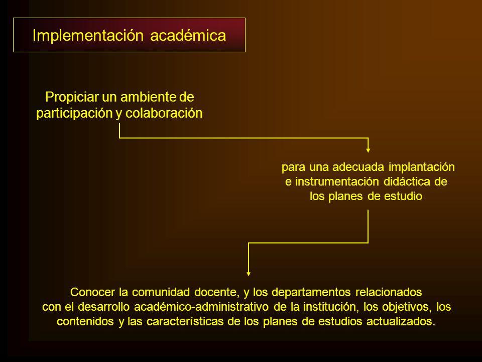 para una adecuada implantación e instrumentación didáctica de los planes de estudio Conocer la comunidad docente, y los departamentos relacionados con