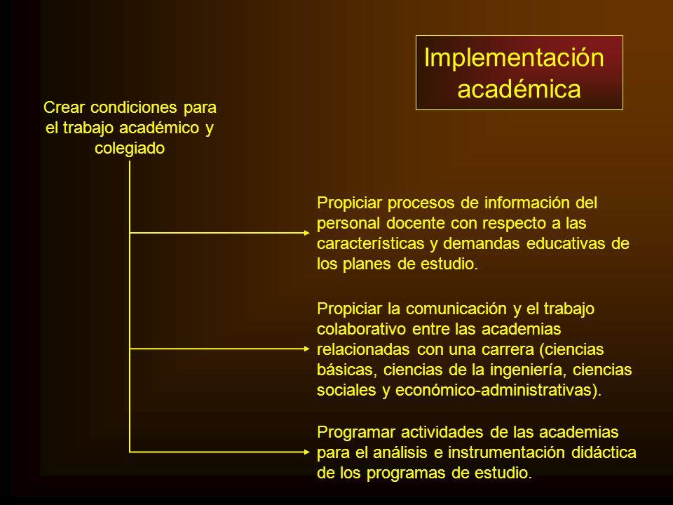 Implementación académica Crear condiciones para el trabajo académico y colegiado Propiciar procesos de información del personal docente con respecto a