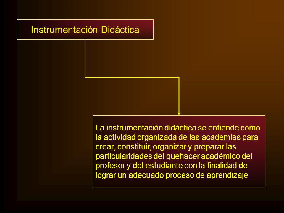 Instrumentación Didáctica La instrumentación didáctica se entiende como la actividad organizada de las academias para crear, constituir, organizar y p