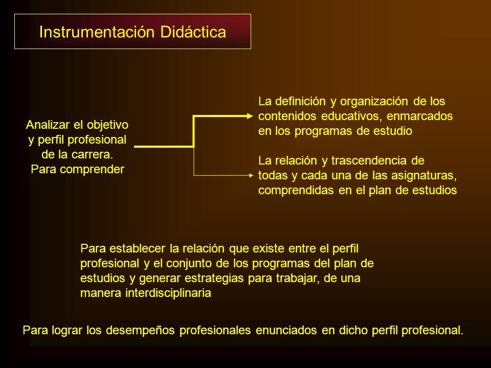 Para lograr los desempeños profesionales enunciados en dicho perfil profesional. Instrumentación Didáctica Analizar el objetivo y perfil profesional d