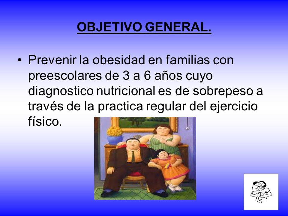 OBJETIVO GENERAL. Prevenir la obesidad en familias con preescolares de 3 a 6 años cuyo diagnostico nutricional es de sobrepeso a través de la practica