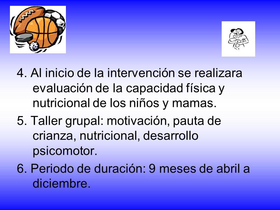 4. Al inicio de la intervención se realizara evaluación de la capacidad física y nutricional de los niños y mamas. 5. Taller grupal: motivación, pauta