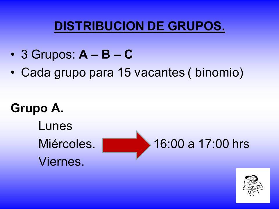 DISTRIBUCION DE GRUPOS. 3 Grupos: A – B – C Cada grupo para 15 vacantes ( binomio) Grupo A. Lunes Miércoles. 16:00 a 17:00 hrs Viernes.