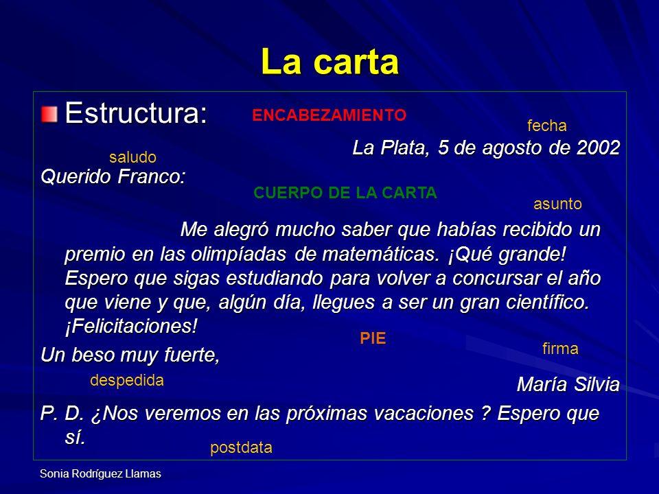 Sonia Rodríguez Llamas La carta Estructura: La Plata, 5 de agosto de 2002 Querido Franco: Me alegró mucho saber que habías recibido un premio en las o