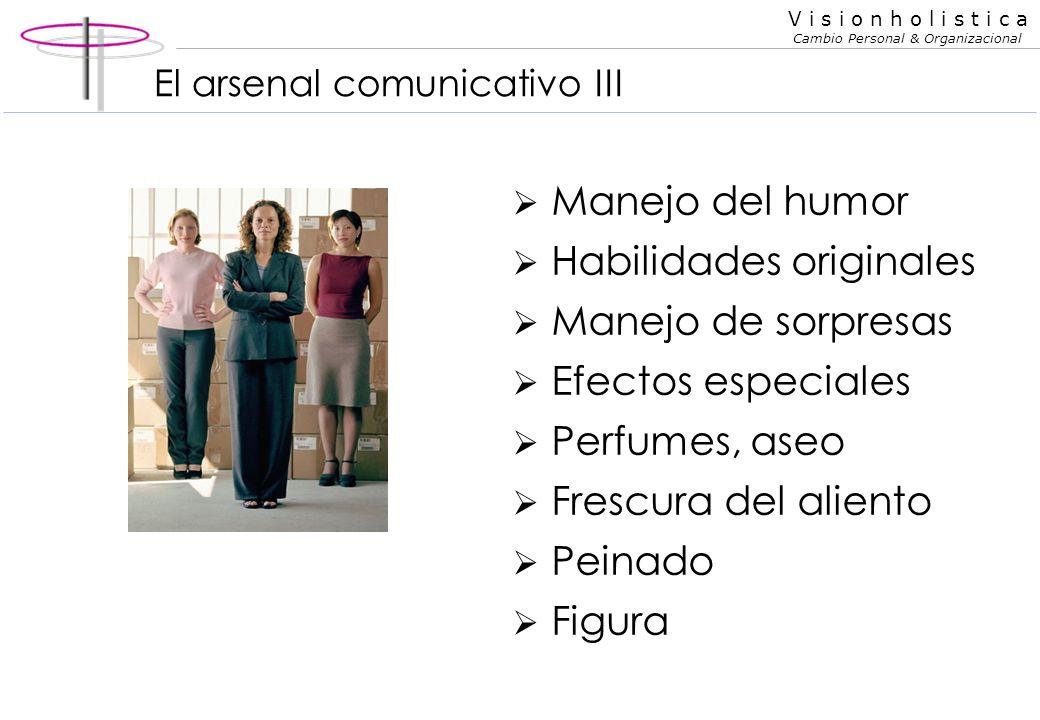 V i s i o n h o l i s t i c a Cambio Personal & Organizacional El arsenal comunicativo II Vestimenta/calzado Uniforme Combinación de colores Ajuste a