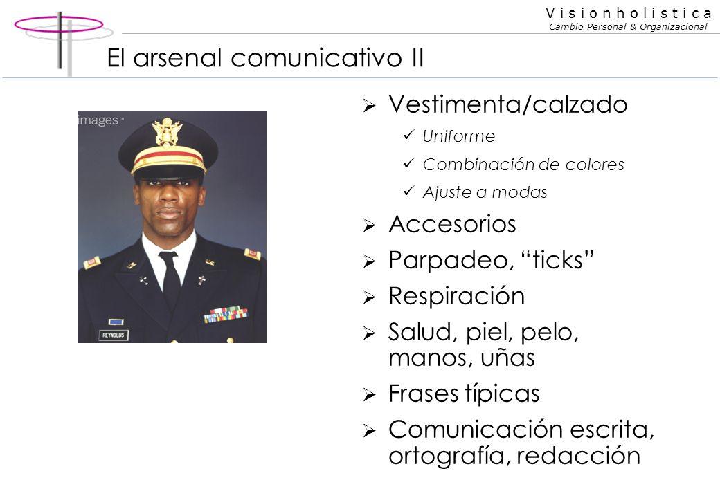 V i s i o n h o l i s t i c a Cambio Personal & Organizacional El arsenal comunicativo I Comunicación oral Comunicación gestual Comunicación corporal