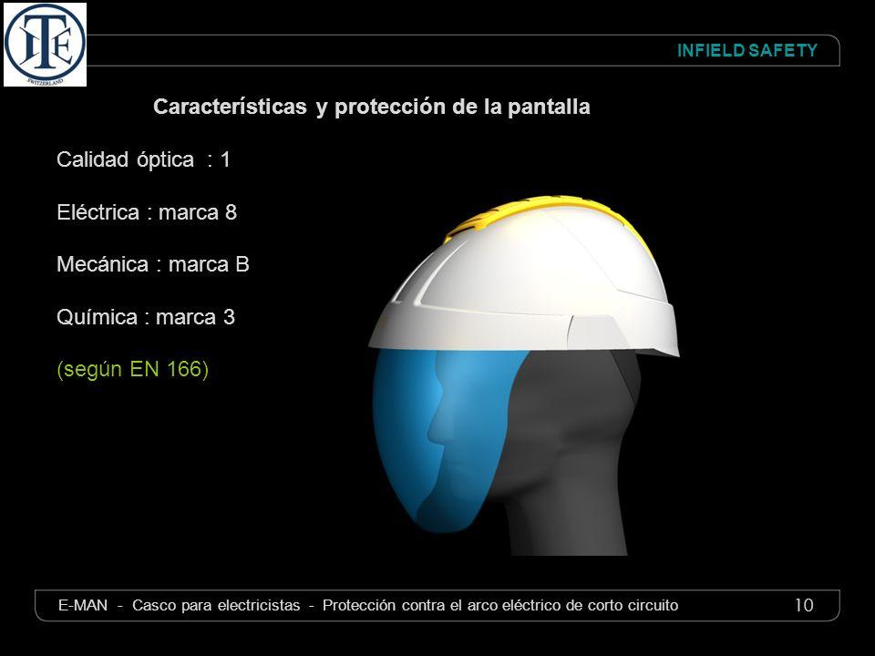 10 INFIELD SAFETY E-MAN - Casco para electricistas - Protección contra el arco eléctrico de corto circuito Características y protección de la pantalla