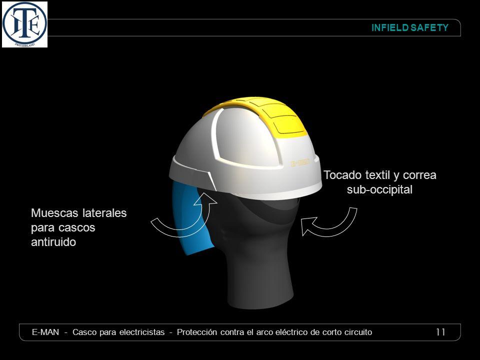 11 INFIELD SAFETY E-MAN - Casco para electricistas - Protección contra el arco eléctrico de corto circuito Tocado textil y correa sub-occipital Muesca