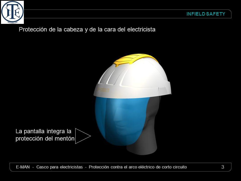 4 INFIELD SAFETY E-MAN - Casco para electricistas - Protección contra el arco eléctrico de corto circuito La pantalla está entre los dos cascos Doble aislamiento del casco