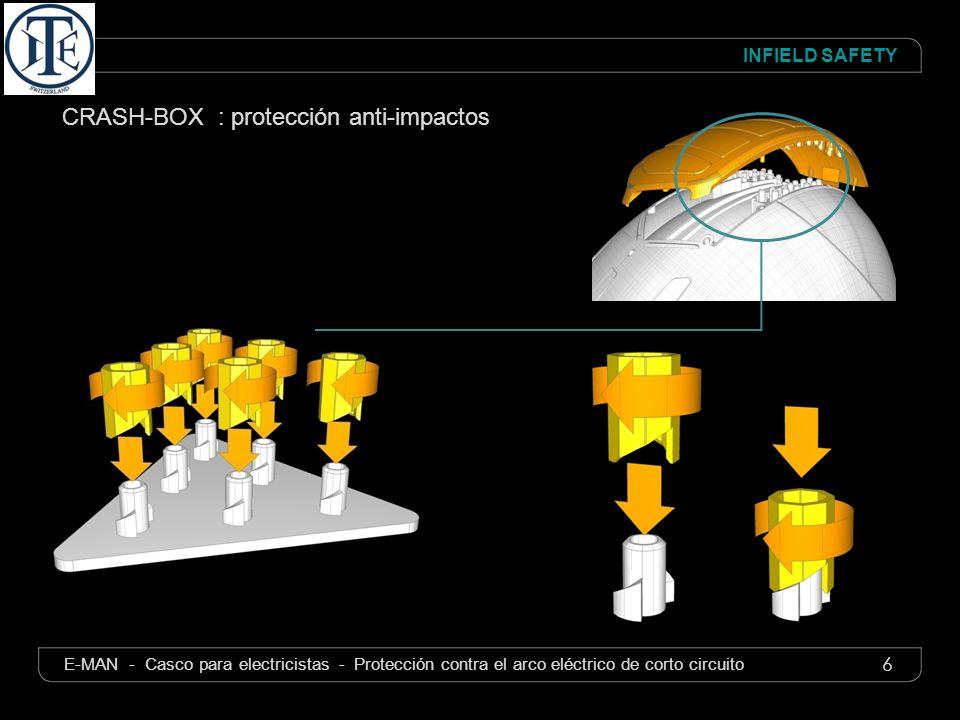 6 INFIELD SAFETY E-MAN - Casco para electricistas - Protección contra el arco eléctrico de corto circuito CRASH-BOX : protección anti-impactos
