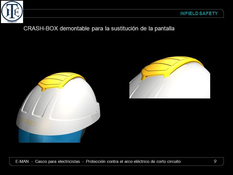9 INFIELD SAFETY E-MAN - Casco para electricistas - Protección contra el arco eléctrico de corto circuito CRASH-BOX demontable para la sustitución de