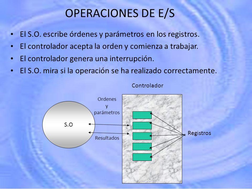 OPERACIONES DE E/S El S.O. escribe órdenes y parámetros en los registros. El controlador acepta la orden y comienza a trabajar. El controlador genera