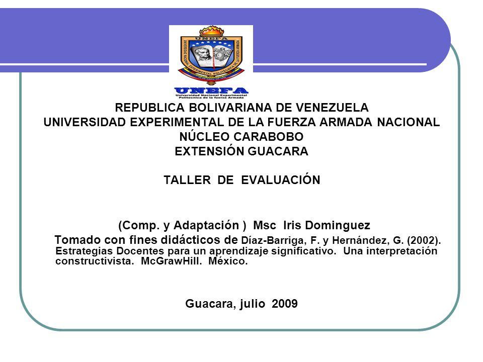 REPUBLICA BOLIVARIANA DE VENEZUELA UNIVERSIDAD EXPERIMENTAL DE LA FUERZA ARMADA NACIONAL NÚCLEO CARABOBO EXTENSIÓN GUACARA TALLER DE EVALUACIÓN (Comp.