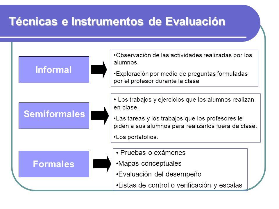 Técnicas e Instrumentos de Evaluación Informal Formales Semiformales Observación de las actividades realizadas por los alumnos. Exploración por medio