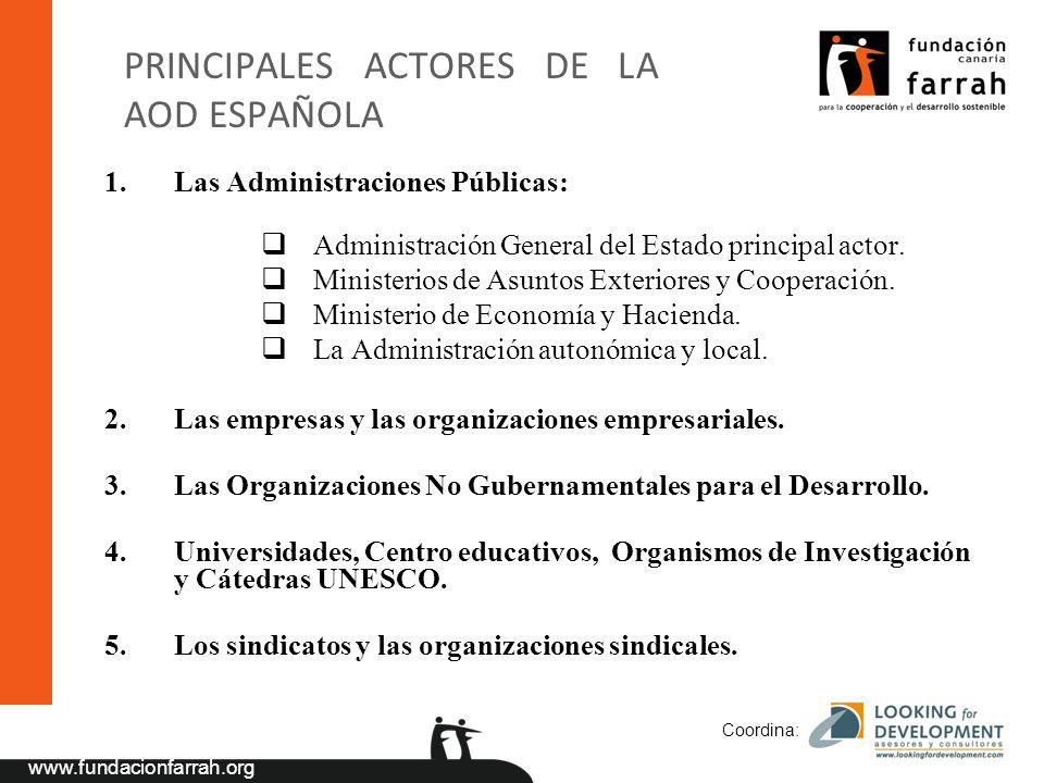 www.fundacionfarrah.org Coordina: PRINCIPALES ACTORES DE LA AOD ESPAÑOLA 1.Las Administraciones Públicas: Administración General del Estado principal