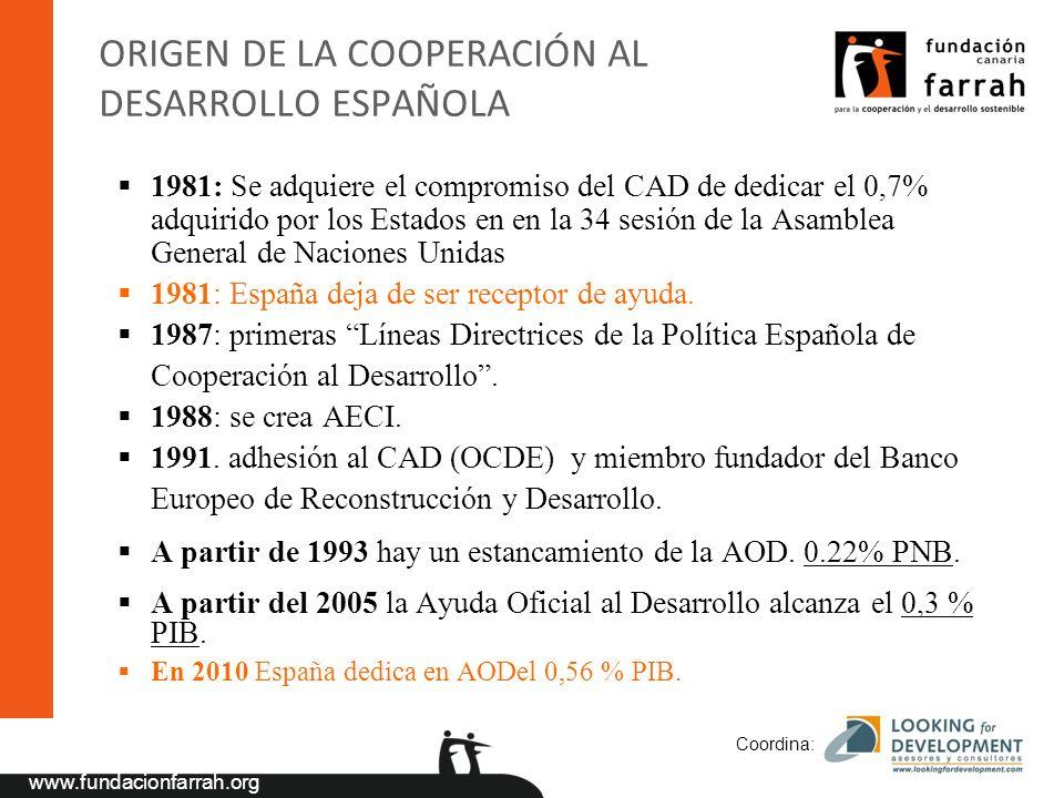 www.fundacionfarrah.org Coordina: ORIGEN DE LA COOPERACIÓN AL DESARROLLO ESPAÑOLA 1981: Se adquiere el compromiso del CAD de dedicar el 0,7% adquirido