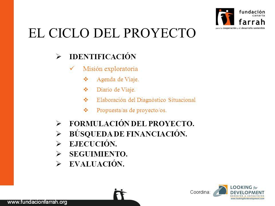 www.fundacionfarrah.org Coordina: EL CICLO DEL PROYECTO IDENTIFICACIÓN Misión exploratoria Agenda de Viaje. Diario de Viaje. Elaboración del Diagnósti
