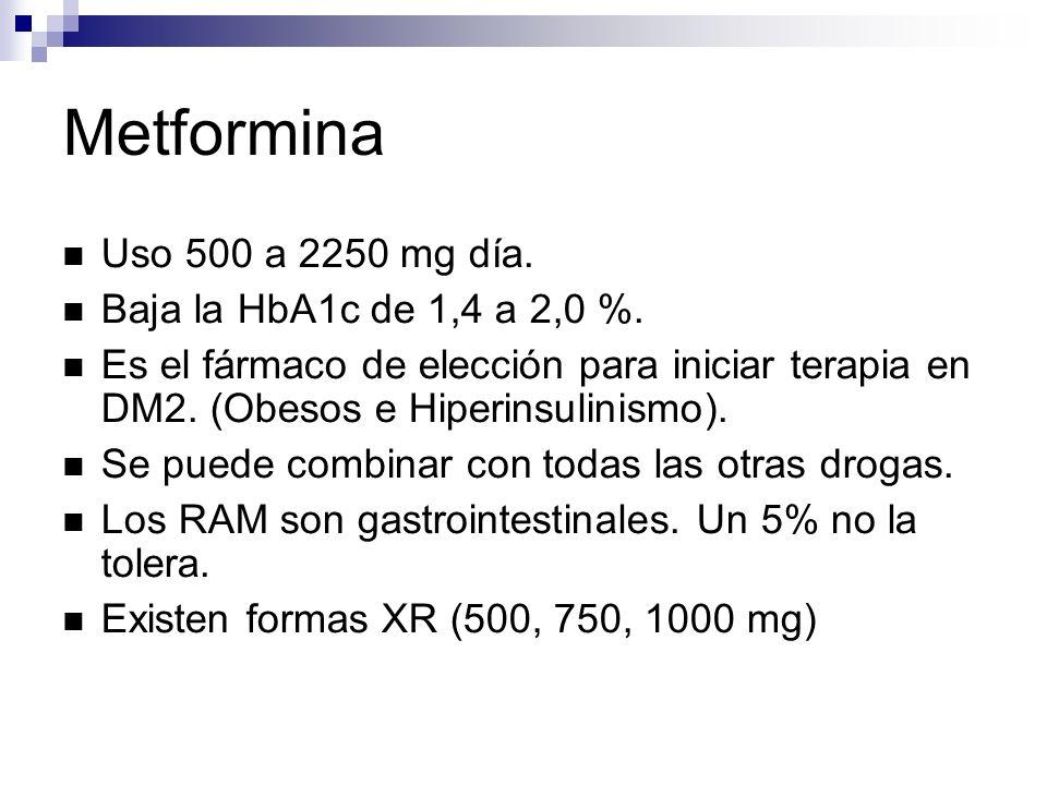 Metformina Uso 500 a 2250 mg día. Baja la HbA1c de 1,4 a 2,0 %.
