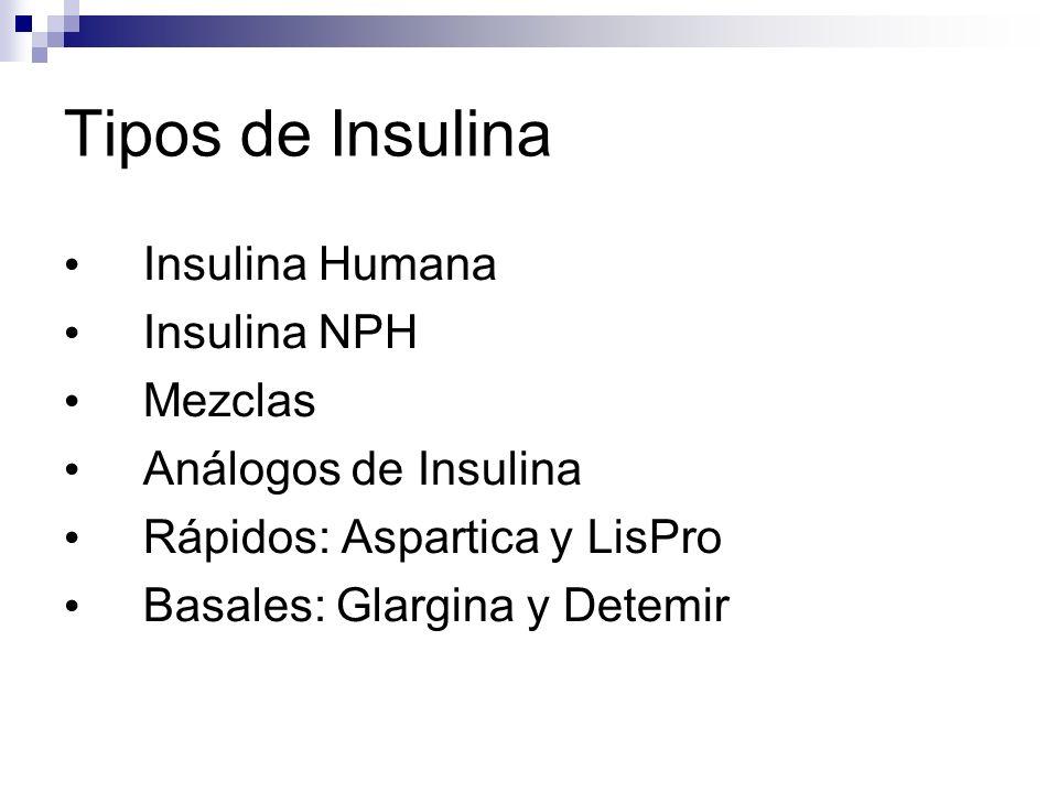 Tipos de Insulina Insulina Humana Insulina NPH Mezclas Análogos de Insulina Rápidos: Aspartica y LisPro Basales: Glargina y Detemir