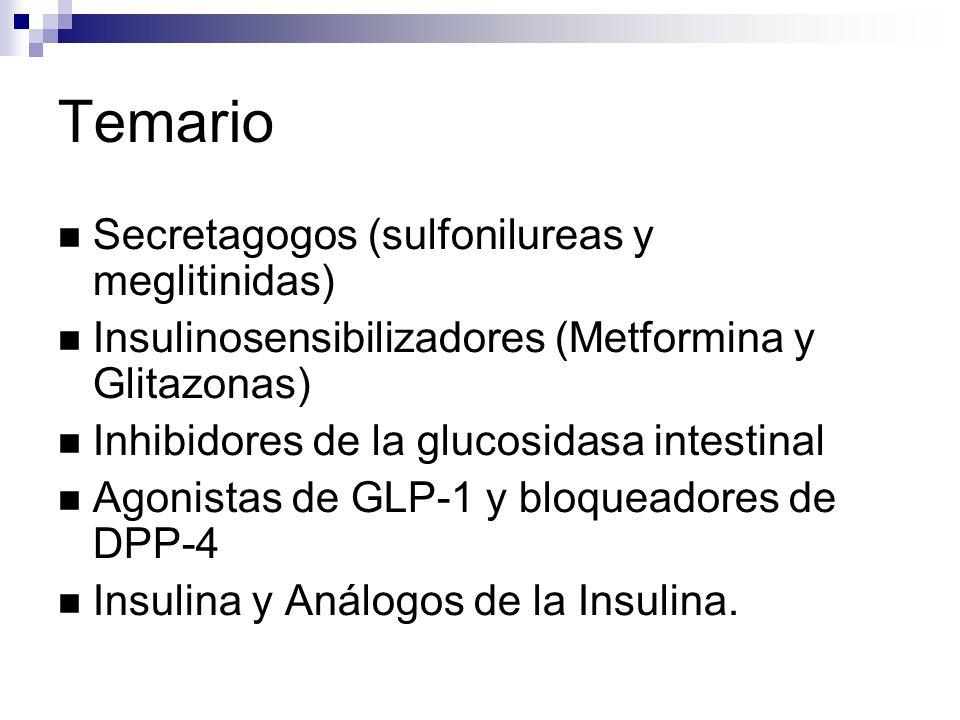 Temario Secretagogos (sulfonilureas y meglitinidas) Insulinosensibilizadores (Metformina y Glitazonas) Inhibidores de la glucosidasa intestinal Agonistas de GLP-1 y bloqueadores de DPP-4 Insulina y Análogos de la Insulina.