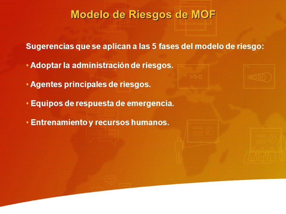 Modelo de Riesgos de MOF Sugerencias que se aplican a las 5 fases del modelo de riesgo: Adoptar la administración de riesgos. Agentes principales de r
