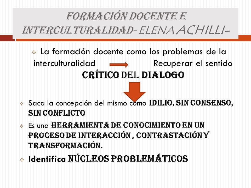 FORMACIÓN DOCENTE E INTERCULTURALIDAD- ELENA ACHILLI- La formación docente como los problemas de la interculturalidad Recuperar el sentido Crítico del