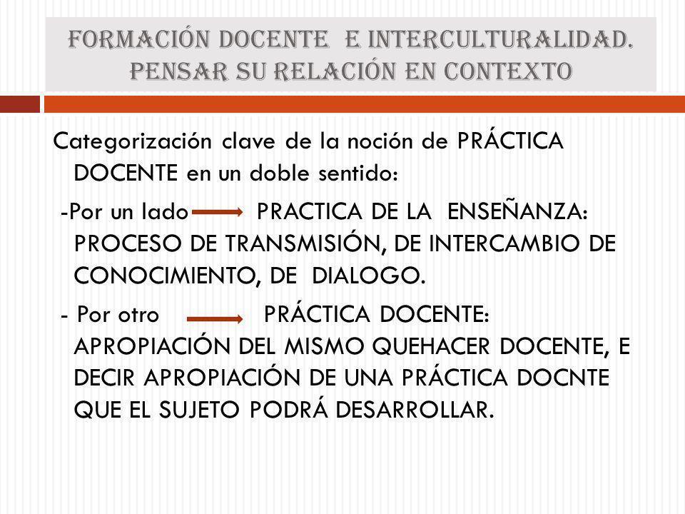 Formación docente e interculturalidad. Pensar su relación en contexto Categorización clave de la noción de PRÁCTICA DOCENTE en un doble sentido: -Por