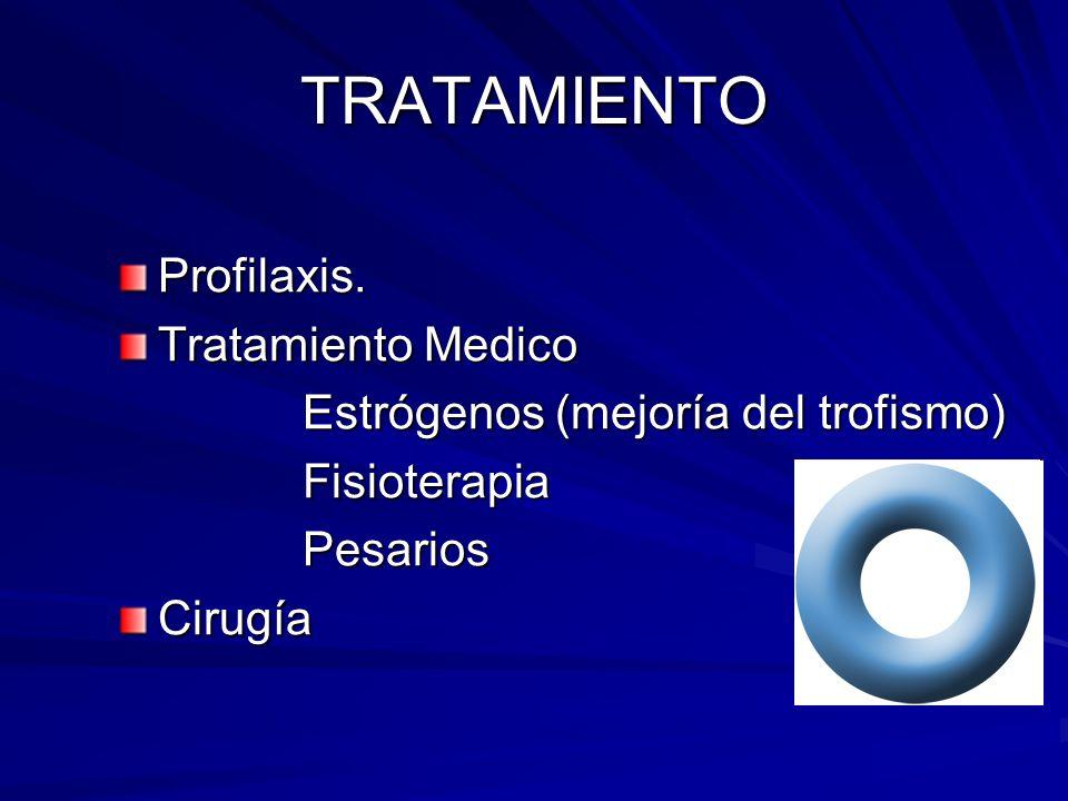 TRATAMIENTO Profilaxis. Tratamiento Medico Estrógenos (mejoría del trofismo) Estrógenos (mejoría del trofismo) Fisioterapia Fisioterapia Pesarios Pesa