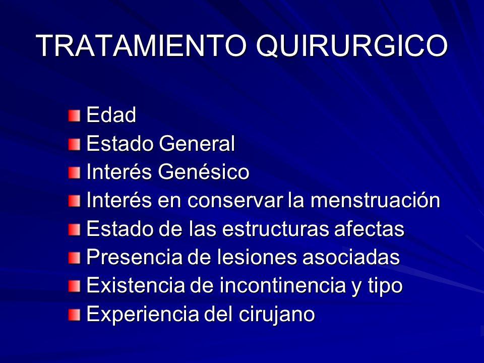 TRATAMIENTO QUIRURGICO Edad Estado General Interés Genésico Interés en conservar la menstruación Estado de las estructuras afectas Presencia de lesion