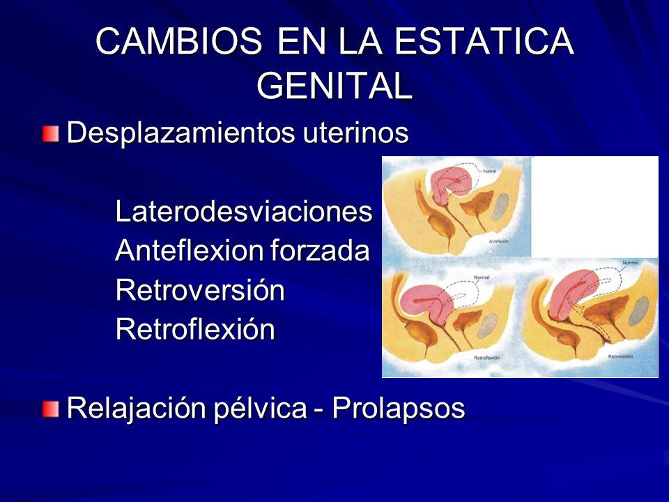 CAMBIOS EN LA ESTATICA GENITAL Desplazamientos uterinos Laterodesviaciones Laterodesviaciones Anteflexion forzada Anteflexion forzada Retroversión Ret