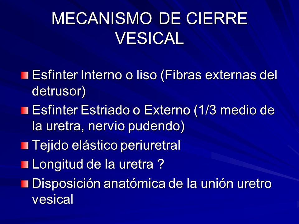 MECANISMO DE CIERRE VESICAL Esfinter Interno o liso (Fibras externas del detrusor) Esfinter Estriado o Externo (1/3 medio de la uretra, nervio pudendo