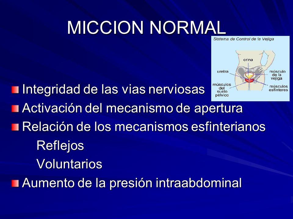 MICCION NORMAL Integridad de las vias nerviosas Activación del mecanismo de apertura Relación de los mecanismos esfinterianos Reflejos Reflejos Volunt