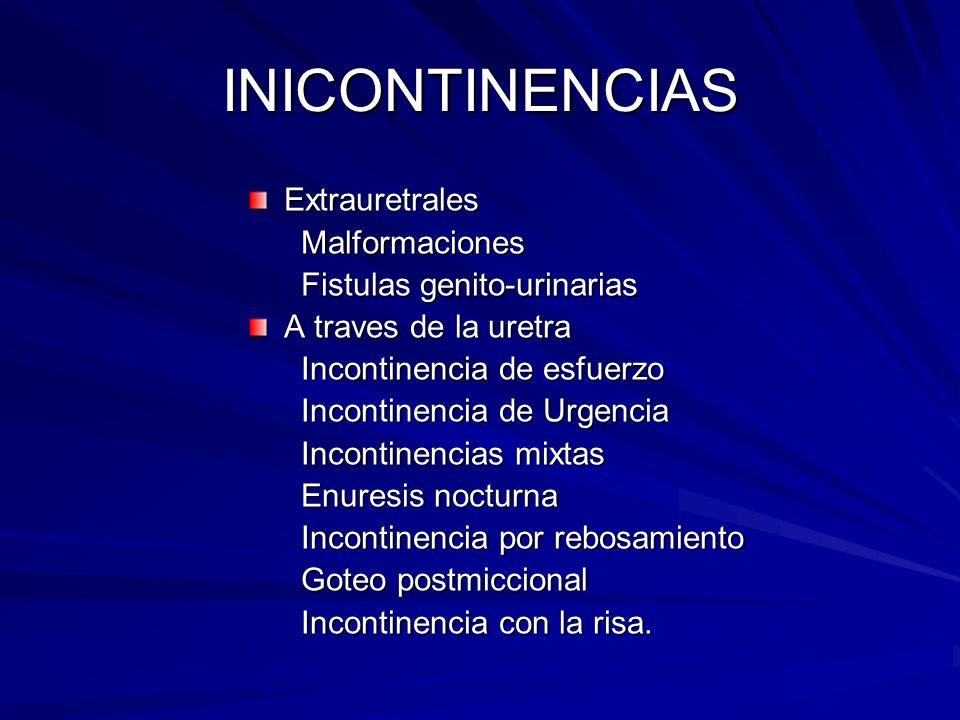 INICONTINENCIAS Extrauretrales Malformaciones Malformaciones Fistulas genito-urinarias Fistulas genito-urinarias A traves de la uretra Incontinencia d